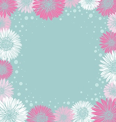 Romantic frame with colorful flowers vector