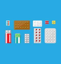 Medicine pills capsules set vector
