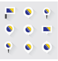 Bosnia and herzegovina flag and pins for vector