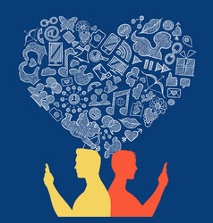 Internet social media gay love icon concept design vector