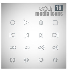 Set of 16 multimedia outline icons vector