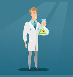Scientist holding flask with biohazard sign vector
