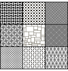 Set of nine black and white geometric seamless vector image