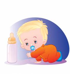 Child with bottle of milk vector