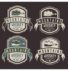 Mountains whiskey vintage labels set vector