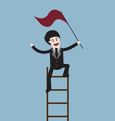 Success businessman on ladder vector