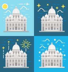 Flat design of st peters basilica rome italy vector