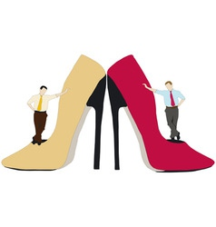 Men and seductive shoes vector