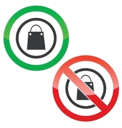 Shopping permission signs vector
