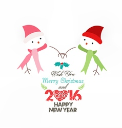 Happy new year 2016 snowman wearing scarf vector