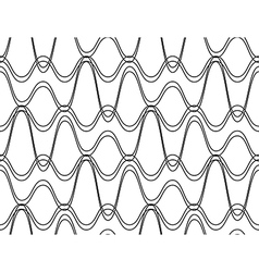 Black and white seamless pattern wave line style vector