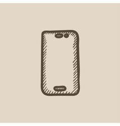 Mobile phone sketch icon vector