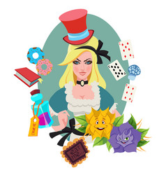 alice surrounded by fabulous items to the fairy vector image vector image
