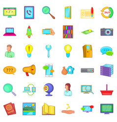 All day service icons set cartoon style vector