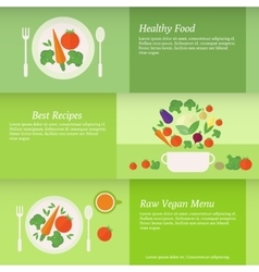 Banners or cards with vegetables vector