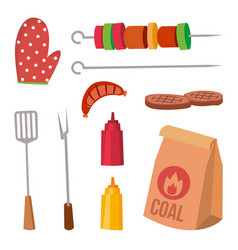bbq accessories set sauce mustard fork vector image