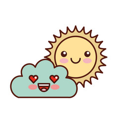 Beautiful fantasy cloud with sun kawaii character vector