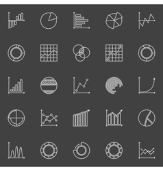 Business graph linear icons vector