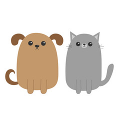 Cartoon dog and cat puppy kitten mustache whisker vector