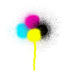 Cmyk graffiti leaking drip sprayed element vector