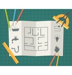 Construction plan blueprint vector image vector image