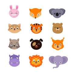 Cute baby animal faces set vector