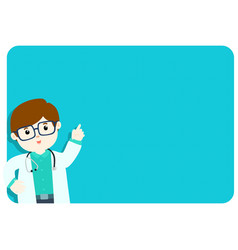 doctor explains at the blank board vector image vector image