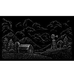 Drawing of rural landscape vector