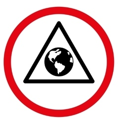 Earth warning flat rounded icon vector
