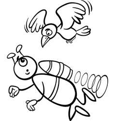 flying alien cartoon for coloring book vector image
