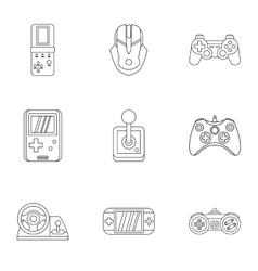 Game icons set outline style vector