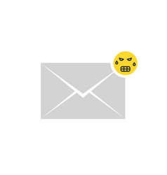 gray angry message letter icon with emoji vector image vector image