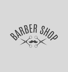 Grey emblem barber shop vector
