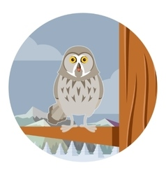 Grey owl on the winter tree flat background vector