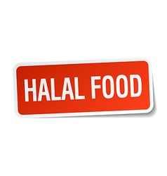 Halal food red square sticker isolated on white vector