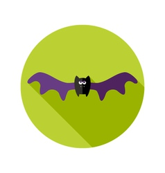 Halloween bat flat icon with big wings vector
