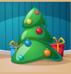 happy new year merry christmas gift fir rom vector image