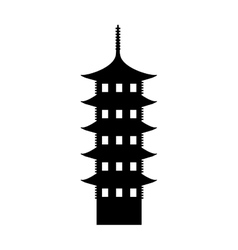 Japanese building isolated icon vector