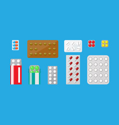 Medicine pills capsules set vector