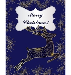Merry Christmas card with golden deer and vector image vector image