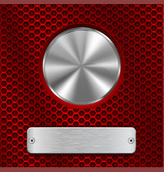 Metal round button and scratched rectangle plate vector