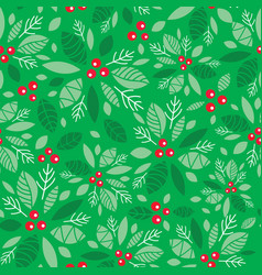mint green holly berry holiday seamless vector image vector image