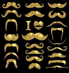 Moustaches gold glitter set Design elements vector image
