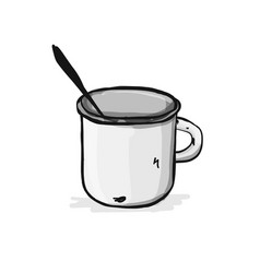 old enameled mug sketch for your design vector image