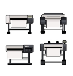 Plotter icons set on white background vector