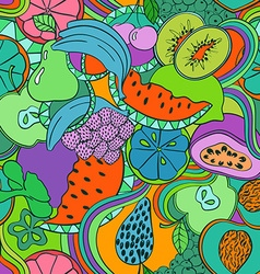 Psychedelic colorful fruit seamless pattern vector