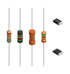 set of different resistors in 3d vector image vector image