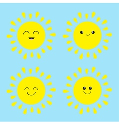 Sun shining icon set Kawaii face with different vector image vector image