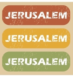 Vintage jerusalem stamp set vector