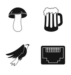 White mushroom a glass of beer and other web icon vector